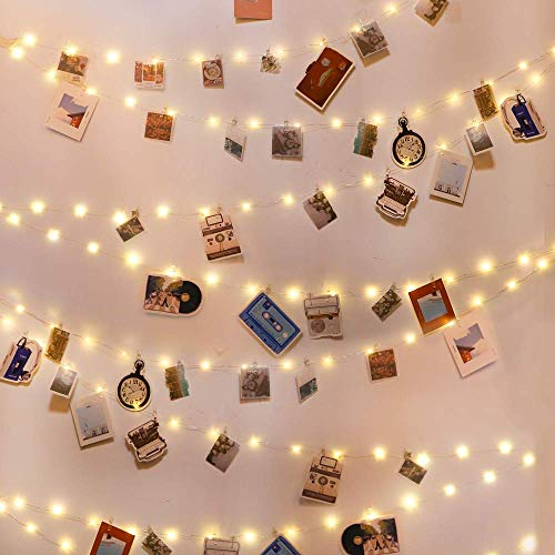 Battery Operated 13 Feet LED Photo Clip String Lights with Remote and Timer 40 Warm White LED Fairy Lights Inside Clear Big Photo Clips on Transparent Cable