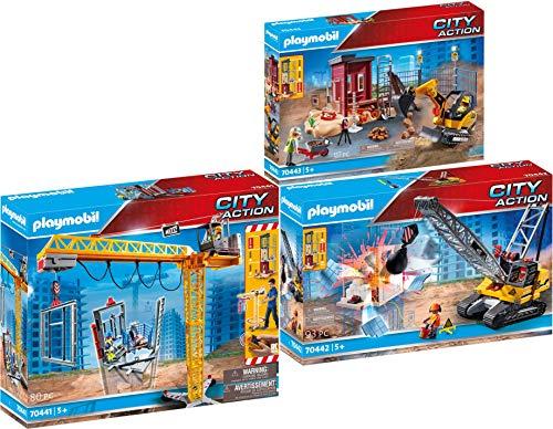 PLAYMOBIL® City Action 3er Set 70441 70442 70443 RC-Baukran + Seilbagger + Minibagger