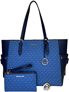 MICHAEL Michel Kors Gilly Large Drawstring Travel Tote bundled with Double Zip Wristlet and Michael Kors Purse Hook (Signa...