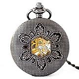 DHRH Reloj de Bolsillo y Cadena Personalizados, Reloj de Bolsillo mecánico de Escala Manual como cumpleaños, Boda de Navidad (Gris)