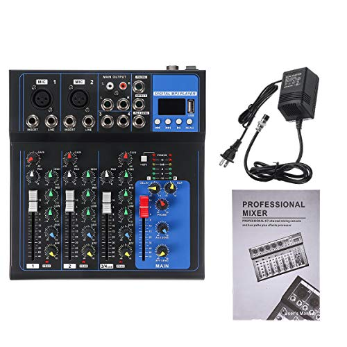 DyNamic 4 Kanalen Audio Mixer Usb Mini Sound Mixing Console Audio Mixer Versterker Bluetooth 48V Fantoomvoeding Voor Karaoke Ktv Match Party