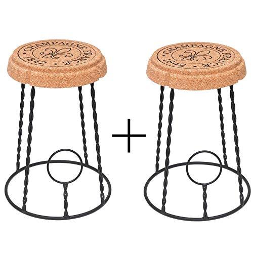 Biosughero - Coppia sgabelli Gabbietta, in Sughero e Metallo a Forma di gabbietta Champagne - Dimensioni: cm H45 Ø29 Ø35