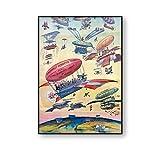 JLFDHR Cartel de Viaje Vintage Ilustración de Dibujos Animados Apertura del Canal de Panamá Avión de Globo de Aire Cuadro de Arte de Pared Antiguo Impresión de Lienzo Pintura-60x90cmx1 Sin Marco