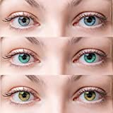 3 Pair Monthly Color contact lens, 1 travel kit case 6 soft Lenses In a strile buffered saline solution. 55% water, 35% phemfilcon A. Suitable for both Male and Female. Store it in a proper case, always use fresh solution and do not wear it Overnight