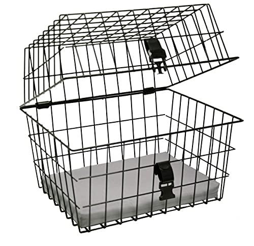 artex 34.53.60 Cestino Bici Posteriore Anteriore per Cane Gatto Pet per Cani di Medie Dimensioni Nero Misure Cm 45x37x36h con Fissaggio Incluso, è Necessario Il Portapacchi