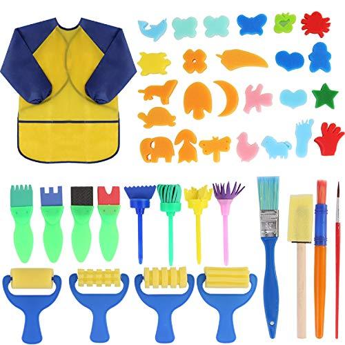 Rehomy 42 unids/lote niños esponja pintura cepillo conjunto niño pintura pinceles aprendizaje temprano dibujo kit cepillos combinación patrones y delantal impermeable