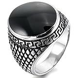 MunkiMix Acero Inoxidable Esmalte Enamel Anillo Ring El Tono De Plata Negro Gótico Gothic Talla Tamaño 17 Hombre