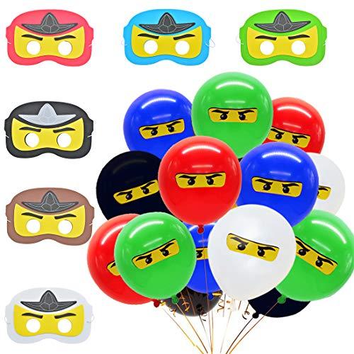 Meuparty Ninja Party Masken Luftballons Dekorationen Partyartikel für Geburtstage, Halloween Kostüme, Partyzubehör und Spiele