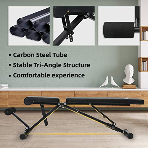 AyeKu Adjustable Weight Bench, Strength Training Bench with Multi-Position and Quick Folding system for full Body workout at home gym-2021 version