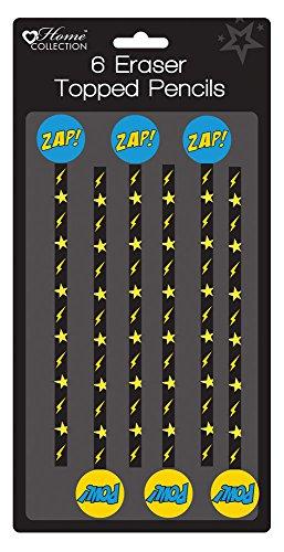 Lot de 6 crayons avec gommes Petits cadeaux pour fête d'anniversaire pour enfants Garçons Super-héros