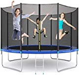 EPROSMIN 12 FT Trampoline Outdoor with Safety Enclosure Net - Combo Bounce Jump for Kids and Adults,Capacity 400 kg,Waterproof Jump Mat,Outdoor with Spring Pad Ladder (2020 Upgraded Version)