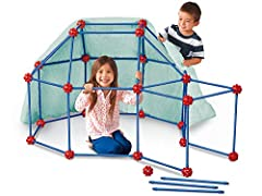 Kids can build any fort they imagine--with these strong, snap-together builders! Children easily snap super-sturdy poles and connectors together…then cover their forts with a sheet or blanket A handy step-by-step guide shows kids how to build everyth...
