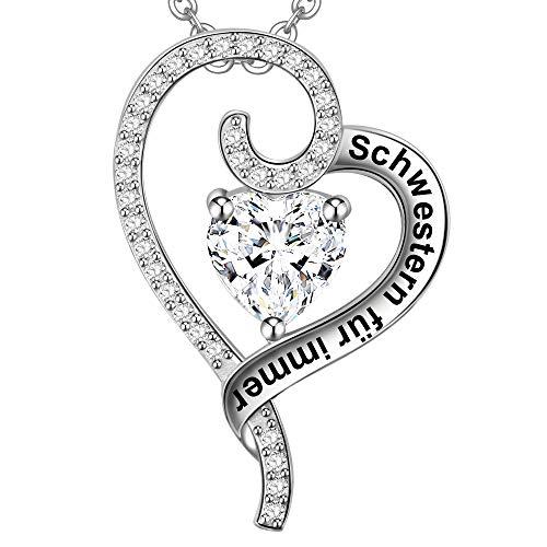LOVORDS Damen Halskette Gravur 925 Sterling Silber Herz Kette Anhänger Geschenk für Schwestern