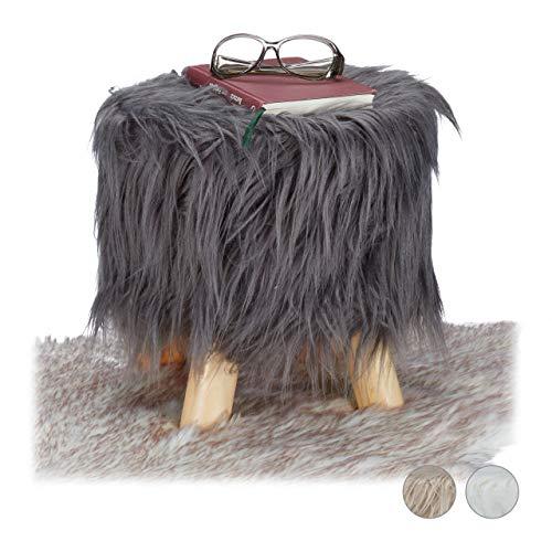Relaxdays Fell Hocker, flauschig, 4 Holzbeine, gepolsterter Fußhocker, Kunstfell, rund, Dekohocker HxD: 31x31 cm, grau, Größe