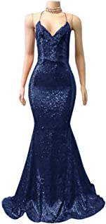 Jonlyc Women's Mermaid Spaghetti Straps Sequined Open Back Long Prom Dresses Formal Gowns