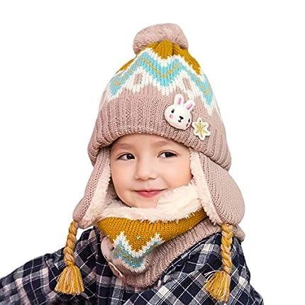 DORRISO Linda Chicos Chicas Sombrero y Bufanda Otoño Invierno Primavera Calentar Lana Gorro Bufanda Sombrero 1-7 años Niño Bebe