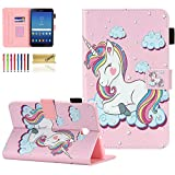 Galaxy Tab A 8.0 2018 Case, SM-T387 Case, Dteck Slim Premium Leather Folio Stand Cover with Card Holder/Photo Slot for Samsung Galaxy Tab A 8 inch 2018 Release T387 Tablet, Pink Unicorn