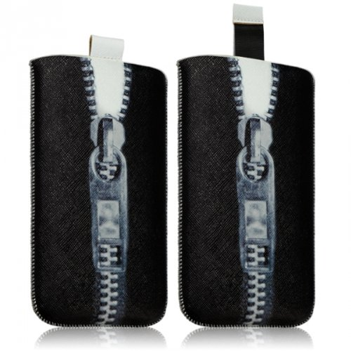 Seluxion-Funda tipo libro para Sony Xperia M/L y Xperia Xperia Z1 Compact, diseño de cremallera, color negro