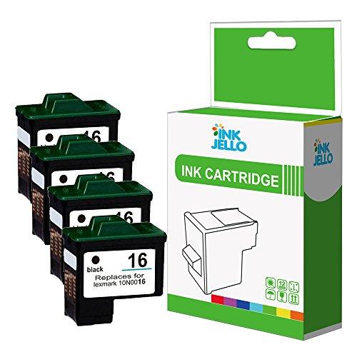 InkJello - Cartucho de tinta remanufacturado para Lexmark Z13, Z615, Z515, Z617, Z517, Z611, Z645, Z640, LV, Z647, LV, Z25, LM16, color negro (4 unidades)