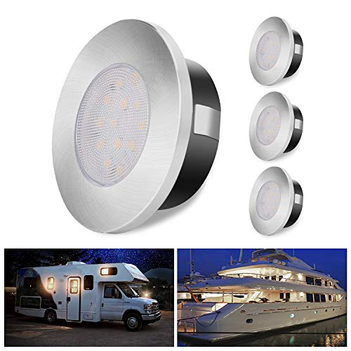ALOVECO LED RV Lights, 12V Led Lights Dimmable Camper Interior Lights 3000K RV Lights Interior Waterproof 12 Volt LED Ceiling Lights Motorhome Sailboat Yacht Case of 4 Packs