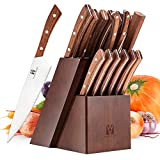 Vestaware Knife Set, 16-Piece Chef Knife Set with Knife Sharpener, Stainless Steel Kitchen Knives Set with Wooden Block, 6 Steak Knives and Bonus Scissors