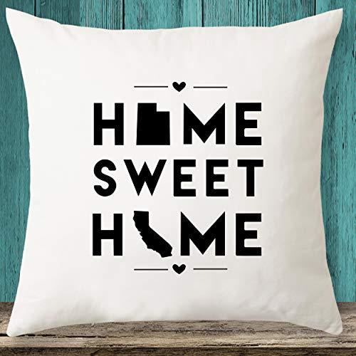 Utah & California Home Sweet Home State Maps - Funda de almohada personalizada