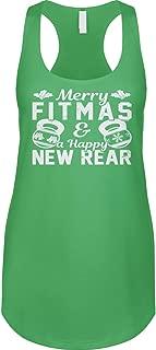 Blittzen Womens Racerback Tank Merry Fitmas & Happy New Rear - Funny