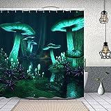 Starodec Cortina de Ducha Impermeable fantasía Oscuro Bosque Verde Setas Brillantes Cortinas baño con Ganchos Lavable a Máquina 62x72 Inch