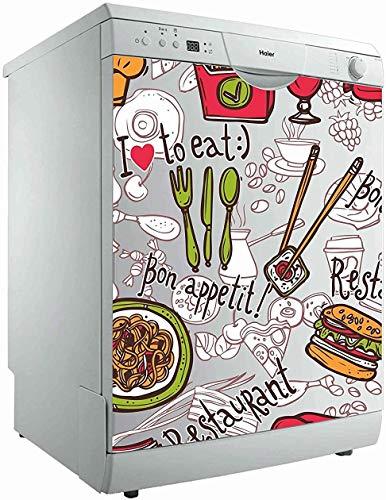 Vinilo para Lavavajillas ! I Am to Eat ¡ | Varias Medidas 70x80cm | Adhesivo Resistente y de Fácil Aplicación | Pegatina Adhesiva Decorativa de Diseño Profesional