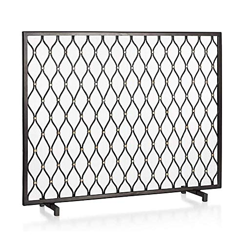 Best Bargain WJMLS Fireplace Guard Solid Wrought Iron Frame See Through, Black