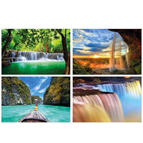 GREAT ART® Set mit 4 Poster – Wasserfälle und Bucht – Sonnenuntergang Boot Urlaub Natur Paradies Träume Wanddeko Hintergr& Plakat Dekor Bild (Din A2 - 42 x 59,4)