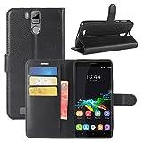 HualuBro Oukitel K6000 Pro Hülle, Premium PU Leder Leather Wallet HandyHülle Tasche Schutzhülle Flip Hülle Cover für Oukitel K6000 Pro Smartphone (Schwarz)