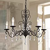 Bestier Wrought Black Iron Rustic Vintage Pendant Candle Chandelier Crystal Lighting Fixture Lamp for Dining Room Bathroom Foyer Livingroom 5 E12 Bulbs Required D22 in x H20 in