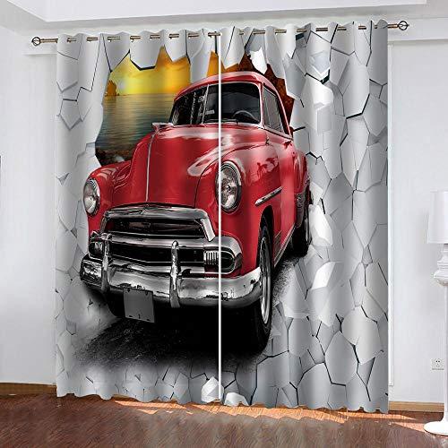 Ceeaceo® Verdunkelungsvorhänge, Rotes Auto Der Gebrochenen Wand 3D Digital Gedruckte Vorhänge, Wohnkultur Vorhänge, (2 Panels), 300 (B) X280 (H) cm