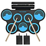 PAXCESS Electronic Drum Set, 7 Drum Pads, Roll-up Practice Electric Drum with Headphones Jack, Built-in Speakers Drum Set, Best Birthday Gift for Kids (Blue)