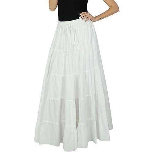 Bimba Womens Long Flaired Cotton Skirt Blue Boho Style Maxi Elastic Waist Bottoms Indian