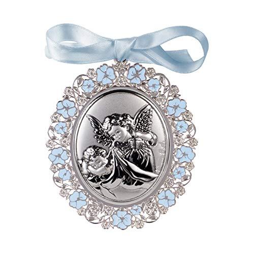 DOCOLASTRA Medalla personalizada de CUNA ó de COCHECITO de bebe ANGEL DE LA GUARDA terminada en metal y plata bilaminada, esmaltada en AZUL y barnizada.