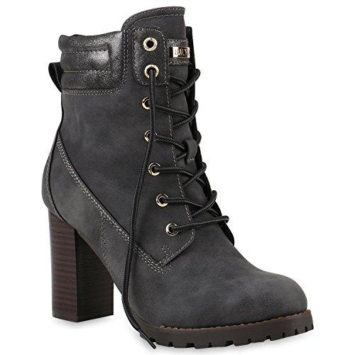 stiefelparadies Damen Stiefeletten Schnürstiefeletten Schuhe 145556 Grau Carlet 37 Flandell