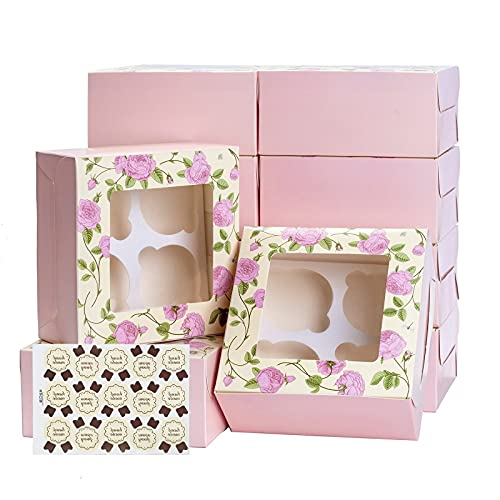 Paquete de 15 cajas de cupcakes de 4 cavidades con
