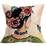Inspirada en la cabeza de mujer de la pintora mexicana Frida Kahlo, una funda de almohada de lino estampada para cojín de coche (compre dos y llévese una gratis)