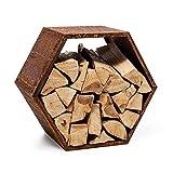 blumfeldt Firebowl Hexawood - Compartimento para leña, Para interiores y exteriores, En forma de hexágono, Resistente intemperie, Estructura de acero, 50,2 x 58 x 32 cm, Marrón