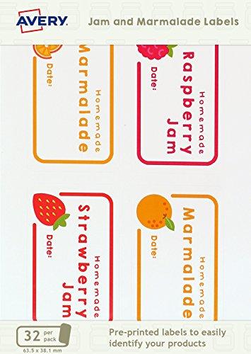 Avery Ajjl01 63,5 x 38,1 mm Pré-imprimée Pot de Confiture et marmelade à imprimer – Blanc (lot de 32)