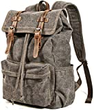 Vintage Canvas Backpack, HuaChen Mens Travel Leather Rucksack for Laptop Hiking School Bookbag (M83_Grey)