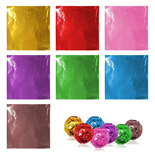 Lainrrew 700 Pcs Candy Foil Wrappers, Aluminum Foil Chocolate Wrappers Sugar Wraps Paper Candies Packaging for Party Christmas, 4 x 4'