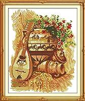 DIY クロスステッチキット、手作り刺繍キット 、図柄印刷 初心者 ホーム装飾 、壁の装飾 、クリスマス プレゼント, 土鍋とギター 40x50cm