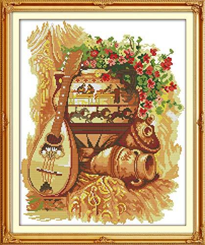 Kit punto croce in cotone con pentola di terracotta e chitarra 11ct 40x50cm kit ricamo ricamo su tela cucito artigianato fatto a mano decorazione della casa