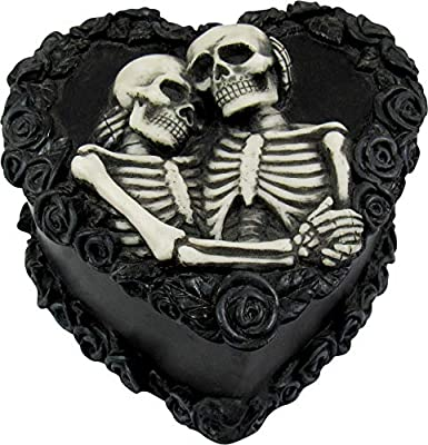 DWK - To Have & To Hold - Beautiful Gothic Skeleton Lovers Embracing on Black Rose Wreath Keepsake Jewelry Trinket Stash Box with Red Interior Romantic Goth Valentine's Day Home Decor Accent, 5-inch