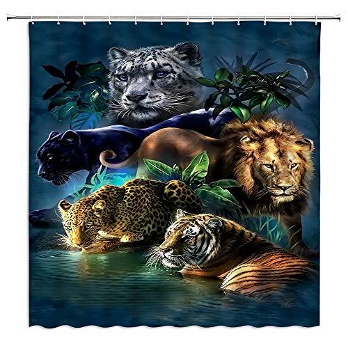 QWRSMYX Tier Duschvorhang Wild Lion Tiger Gepard Thema Wald wildes Tier Pflanze Grünes Blatt Wasser Ripple Herren Junge Badezimmer Dekoration Stoff Badezimmer mit Haken 70x70 Zoll Braun Grün