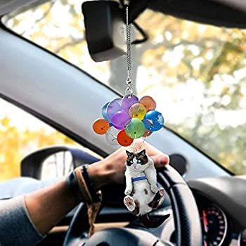 Cat Car Hanging Ornament - Automotive Interior Mirrors Pendant Cat Lover Gift Colorful Balloon Cats Rear View Mirror Pendants Car Interior Decor Home Window Hangings  A1