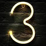 Letrero de Neón LED de Techo Luz LED de Neón de Símbolo Alfanumérico de Encender con Interruptor de Control Remoto Inalámbrico para Decoración Navidad Fiesta Casa Bar (Número 3)